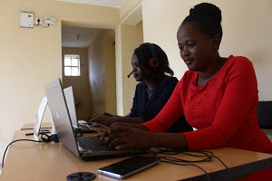 Rebecca Oluoch and Susan Achieng in their work station in Nairobi
