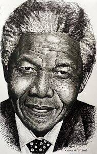 Portrait artwork done using ink and charcoal pencil on paper.