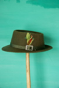 Military green, Felt leather trim, Fedora hat