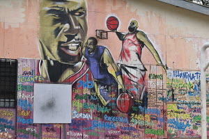Wall art at a basketball court