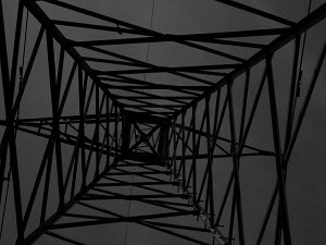 Below the power-line structure