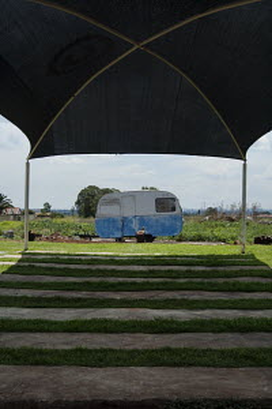 Caravan on the grass