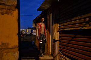 Phola Park Ext5, South of Johannesburg, Self portrait, Sundown, Door step,