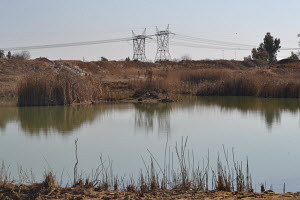 Powerlines, Dam, Dry Shrubs,