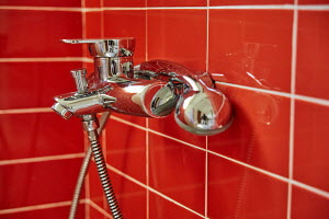 Faucet, pipe, shower, bath, tiles, shiny object, bathroom, bathe