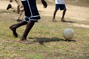 Some kids playing football at Prampram, Ghana-West Africa.