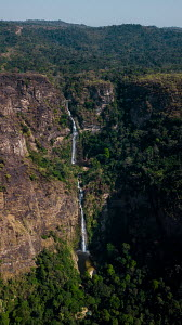 Aerial view of the highest waterfall in West Africa, the Wli Waterfalls in the Volta Region near the Ghana-Togo border