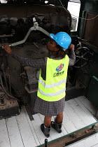 Stacy Koki at the Nairobi railway work station