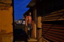 Phola Park Ext5, South of Johannesburg, Self portrait, Sundown, Door step,